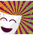 carnival mask with confetti stars and streamers vector image
