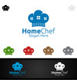 chef home food logo for restaurant or cafe vector image vector image