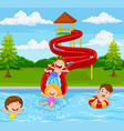 children playing in water park vector image vector image