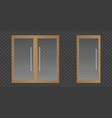 clear glass doors with wooden frame vector image vector image