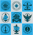 collection vintage nautical badges and labels vector image vector image