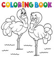coloring book flamingo theme 1 vector image vector image