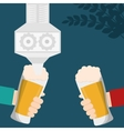 craft beer hands holds glasses celebration vector image