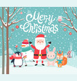 cute characters hugging - santa claus squirrel vector image