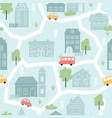 cute city houses childish seamless pattern vector image
