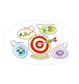 Darts target bubble with lightbulb circles people vector image