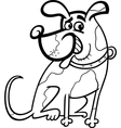 dog cartoon for coloring vector image