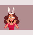 easter woman wearing bunny ears announcing sale vector image vector image