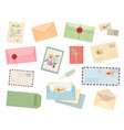 envelopes and letters postcard mail with postmark vector image vector image