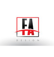 fa f a logo letters with red and black colors and vector image