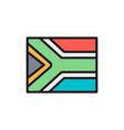 flag south africa flat color line icon vector image