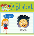 Flashcard alphabet M is for moon vector image vector image