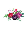 floral set collection with red purple flowers vector image