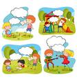 Four scenes of children doing activities in the vector image vector image