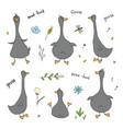 goose doodles set cute geese sketch hand drawn vector image vector image