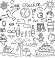 Hand drawn sketch sea cruise doodles of Travel and vector image vector image