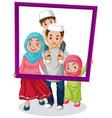 happy family member holding photo frame