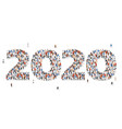 happy new year 2020 large and diverse group of vector image vector image