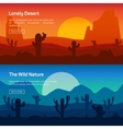 Horizontal banner set with lonely desert and wild vector image vector image