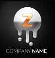 letter z splash logo golden dots silver bubbles vector image
