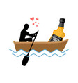 lover alcohol drink man and bottle of whiskey vector image vector image