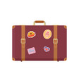 luggage with stickers of landmarks set vector image