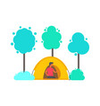 man in tent in forest trees and bushes isolated vector image vector image