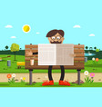 man on bench in park reading newspapers with vector image vector image