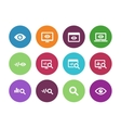 Monitoring circle icons on white background vector image vector image