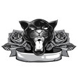 monochromatic panther snake roses tattoo graphic vector image vector image