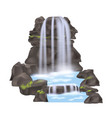 mountain waterfall isolated icon vector image vector image