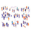 museum visitors isometric set vector image vector image