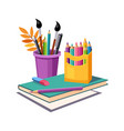 notebook pencils and eraser set of school and vector image vector image