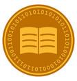 open book digital coin vector image vector image