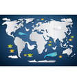 Paper World Map with Fish Birds and Boats vector image vector image