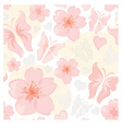 pattern - flower and butterfly vector image vector image