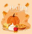pumpkin with pie for thanksgiving day and set vector image