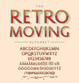 retro moving font and alphabet with numbers vector image vector image