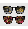 Retro sunglasses with night reflection in it vector image