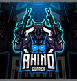 rhino gunner esport mascot logo vector image vector image