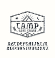 Rustic serif font and camping emblem vector image vector image