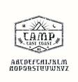 Rustic serif font and camping emblem vector image vector image