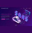 saas software as a service isometric landing page vector image