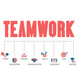 teamwork concept with business icons vector image