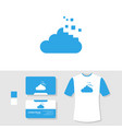 tech cloud logo design with business card and t vector image