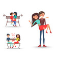 three pretty couples in love on white background vector image vector image