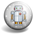 Tin robot on round badge vector image vector image