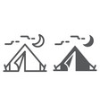 tourist tent line and glyph icon travel and vector image vector image