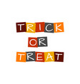 trick or treat text in colorful rotated squares vector image