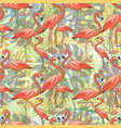 tropical leaves and pink flamingos vector image